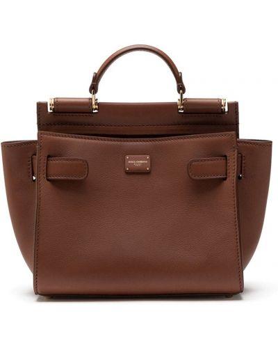 Кожаная сумка - коричневая Dolce & Gabbana