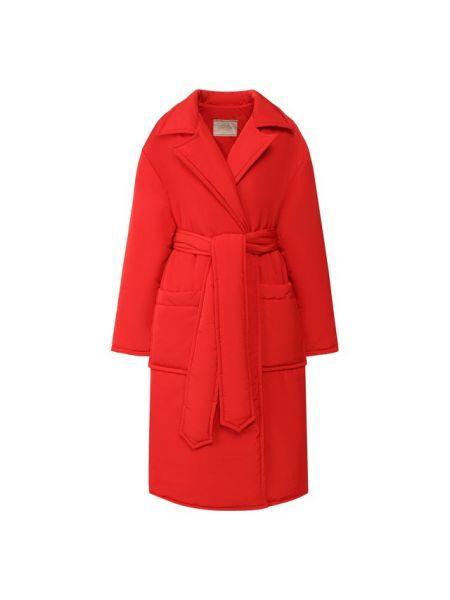 Красное нейлоновое приталенное пальто с поясом Tak.ori