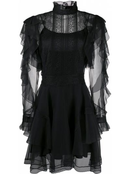 Шелковое кружевное черное платье мини Alberta Ferretti