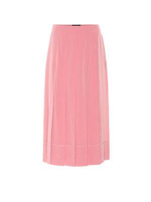 Розовая шелковая юбка миди Joseph