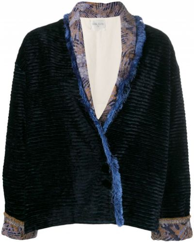 Синяя длинная куртка с манжетами с опушкой Forte Forte