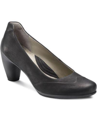 Туфли на каблуке черные кожаные Ecco