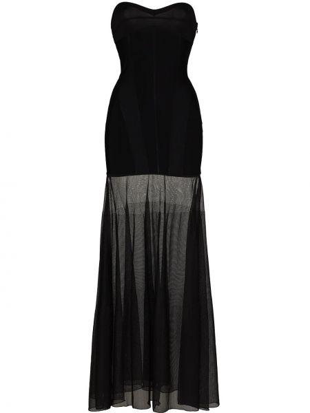 Облегающее черное шелковое облегающее платье Mugler