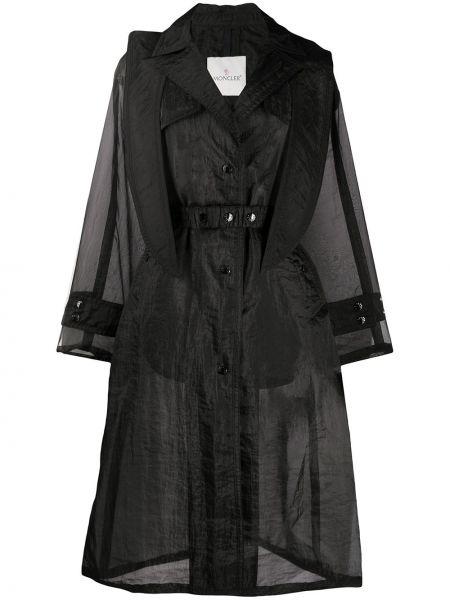 Długi płaszcz z kapturem zapinane na guziki Moncler