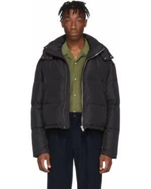 Сатиновая черная куртка с капюшоном с вышивкой на молнии Second/layer
