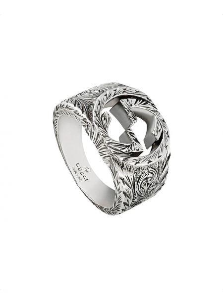 Pierścień ze srebra z wzorem Gucci