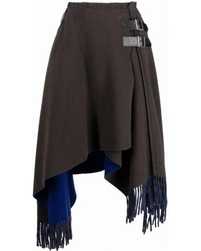 Кожаная юбка - серая Sacai