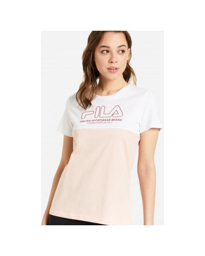 Трикотажная белая прямая футболка с короткими рукавами Fila