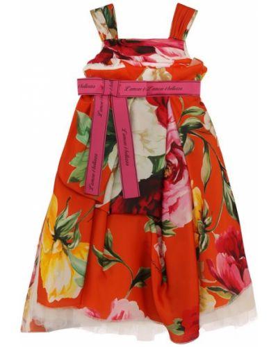 Платье с поясом с цветочным принтом с надписью Dolce & Gabbana