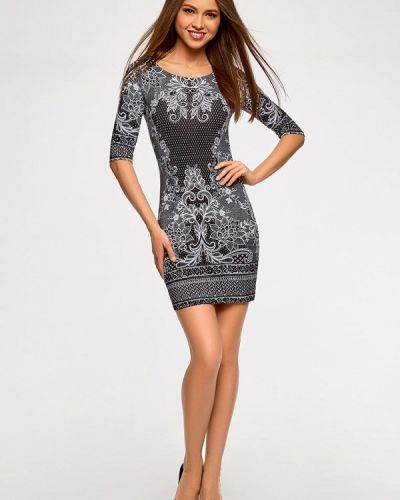 Платье серое Oodji