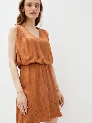 Коричневое прямое платье А-силуэта Naf Naf