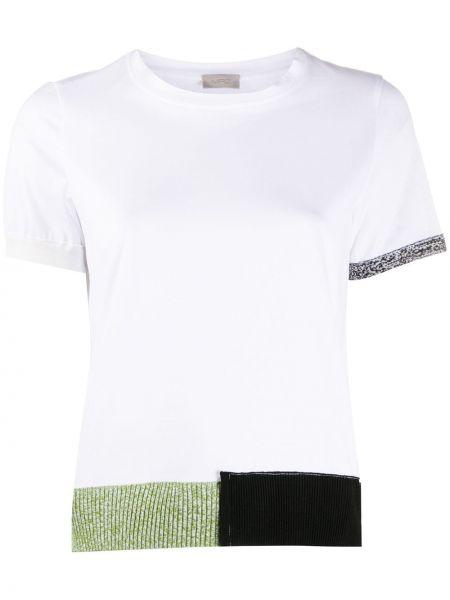 Хлопковая белая прямая футболка с круглым вырезом Mrz
