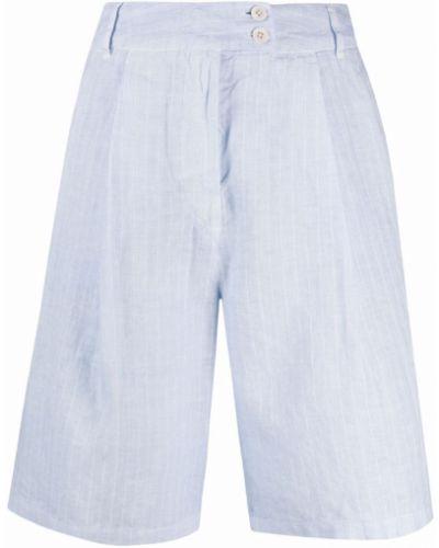 Льняные с завышенной талией шорты с карманами 120% Lino