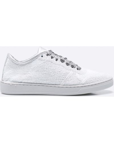Льняные кроссовки серебряного цвета Gino Rossi