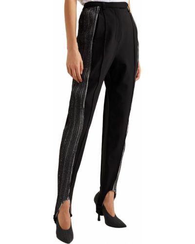 Prążkowane czarne spodnie wełniane Ellery