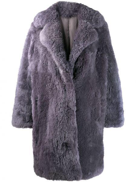 Серая пальто классическое из овчины оверсайз Liska