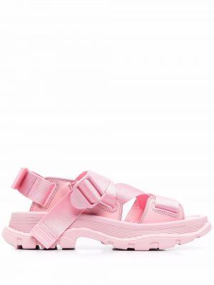 Sandały skórzane - różowe Alexander Mcqueen