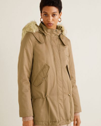 Утепленная куртка с капюшоном укороченная Mango