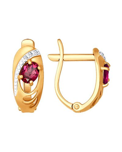 Золотые серьги с бриллиантом классические Sokolov