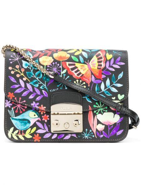 Кожаная сумка с бабочками на плечо Furla