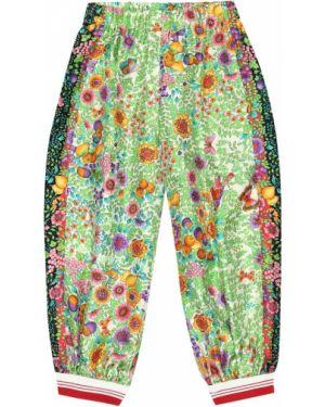 Zielone spodnie z jedwabiu Gucci Kids