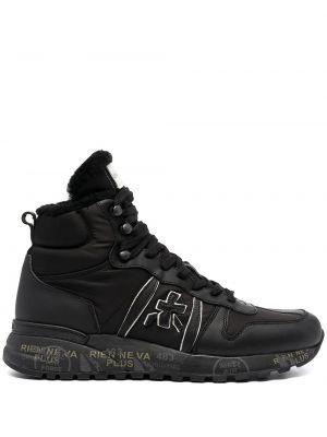 Кожаные высокие кроссовки - черные Premiata