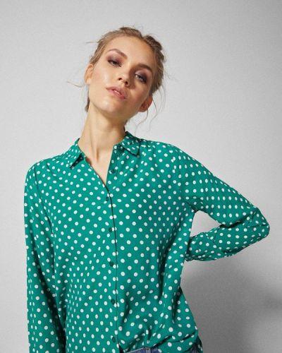 Бирюзовая блузка с длинным рукавом Springfield