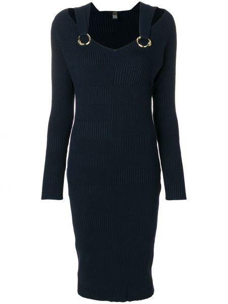 Трикотажное синее платье миди в рубчик Cavalli Class