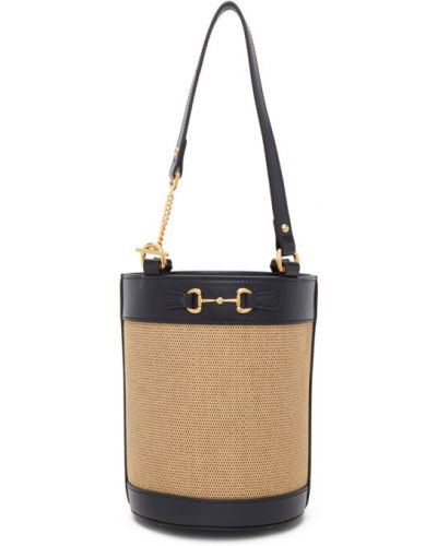 Brezentowy mini torebka z łatami prążkowany złoto Gucci