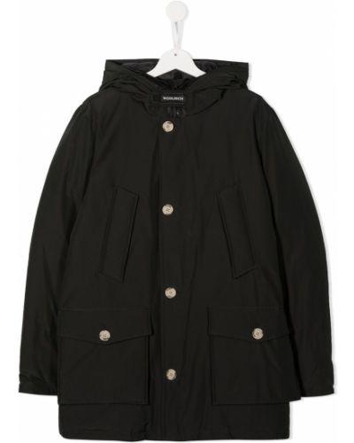 С рукавами черное пальто с капюшоном с перьями Woolrich Kids