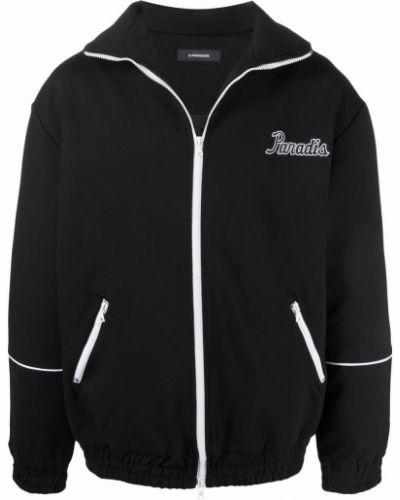 Czarna długa kurtka z nylonu z długimi rękawami 3.paradis