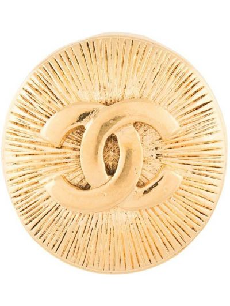 Broszka pozłacany złoto z ozdobnym wykończeniem Chanel Pre-owned