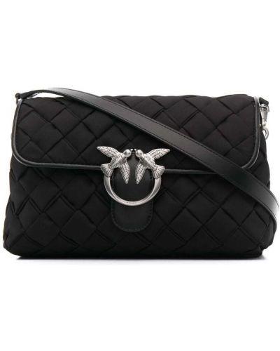 Черная сумка на плечо металлическая на молнии Pinko