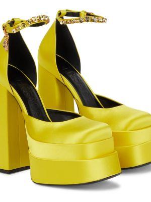 Кожаные лодочки - желтые Versace