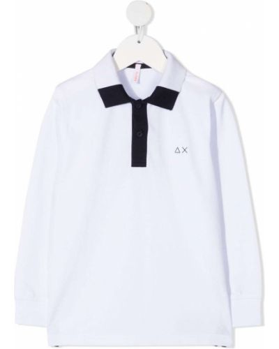 С рукавами белая рубашка с воротником Sun 68