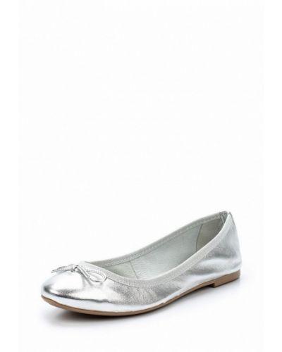 Балетки серебряного цвета Marco Tozzi