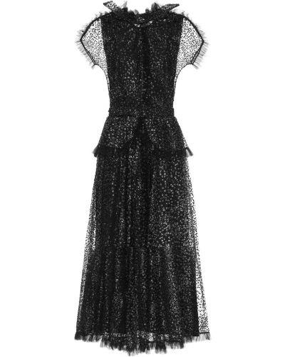 Платье макси из фатина - черное Rodarte