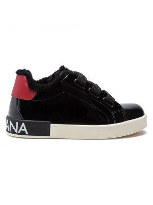 Кожаные черные кроссовки на каблуке Dolce & Gabbana Kids
