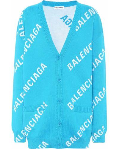 Wełniany niebieski kardigan rozciągać Balenciaga