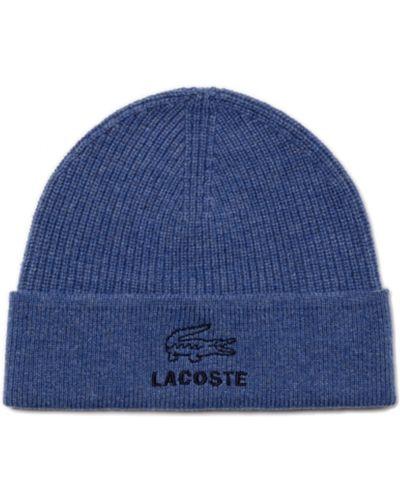 Синие шерстяные вязаные перчатки Lacoste