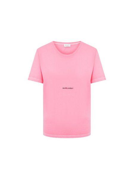 Хлопковая футбольная розовая футболка Saint Laurent