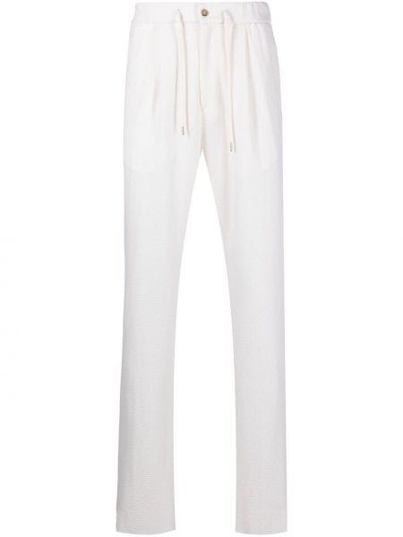 Białe spodnie wełniane Giorgio Armani