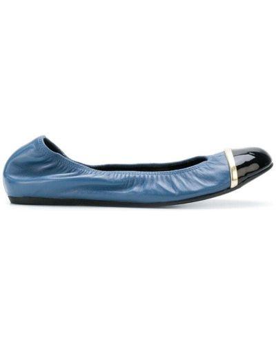 Синие кожаные балетки Lanvin