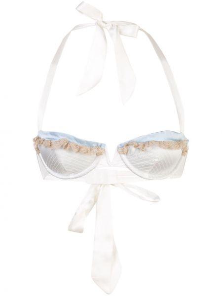 Шелковый белый бюстгальтер с завязками с декоративной отделкой Kiki De Montparnasse