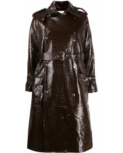 Коричневое кожаное длинное пальто с поясом S.w.o.r.d 6.6.44