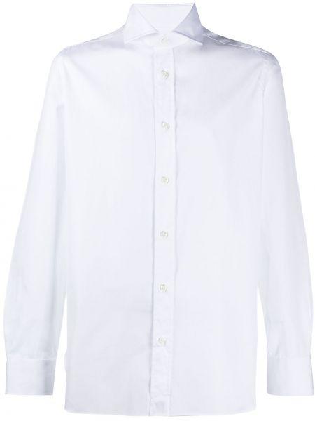 Белая классическая классическая рубашка с воротником с длинными рукавами Borrelli