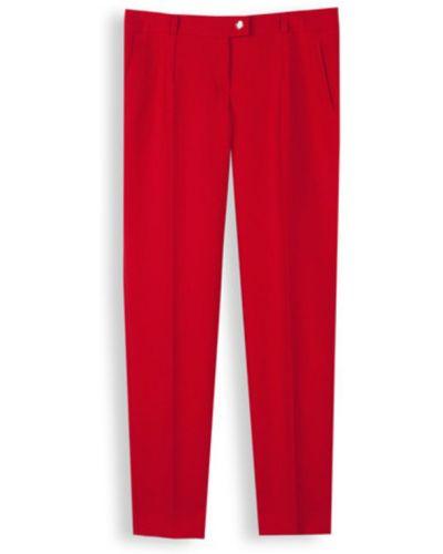 Czerwone spodnie cygaretki eleganckie z paskiem Echo