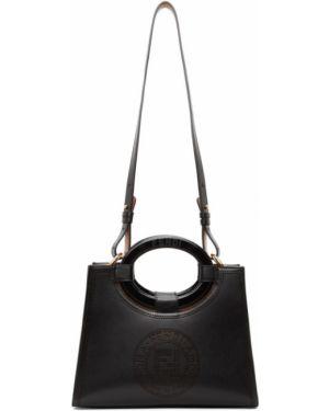 Skórzany czarny torba na zakupy z klamrą prążkowany Fendi