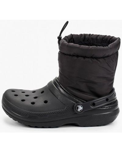 Черные текстильные дутики Crocs