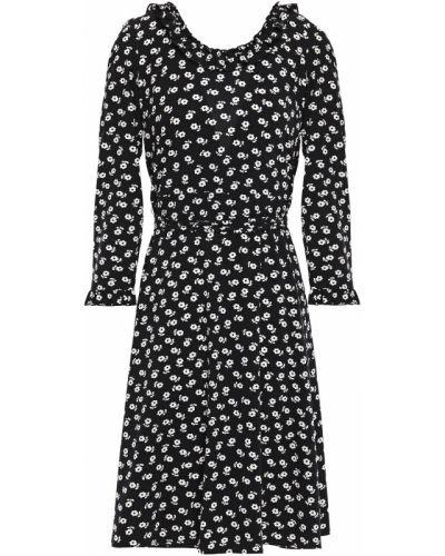 Czarna sukienka kopertowa z printem Alexachung